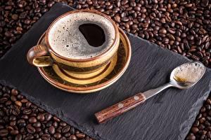 Фотографии Кофе Чашка Ложка Блюдце Продукты питания