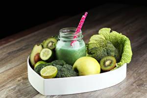 Картинка Напитки Коктейль Овощи Фрукты Яблоки Лимоны Банка