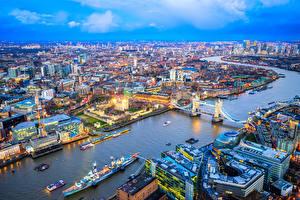 Фото Англия Здания Речка Мосты Пирсы Корабли Лондон Мегаполис Города