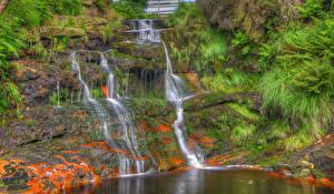 Обои Англия Водопады Скала Мох Lancashire Природа