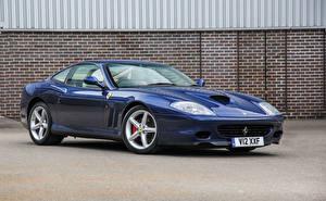 Обои Ferrari Синий Металлик 2002-06 575 M Maranello Pininfarina Автомобили