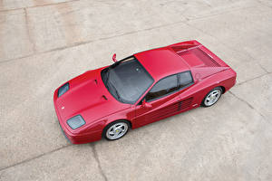 Картинки Феррари Ретро Pininfarina Красная Сверху 1994-1996 F512 M Автомобили