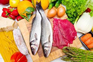 Фото Рыба Мясные продукты Овощи Яйца Еда