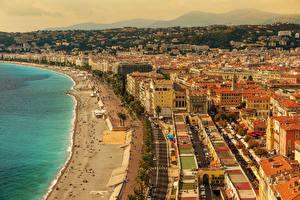 Картинки Франция Дома Берег Пляж Nice Города