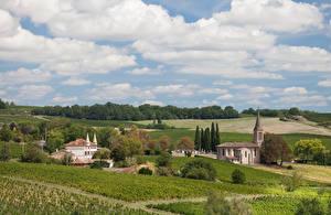Обои Франция Здания Поля Небо Облачно Gaillac Природа