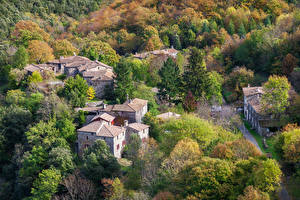 Картинки Франция Здания Леса Осенние Деревня L'Estrechure Города