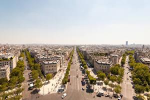 Обои Франция Дома Дороги Париж Мегаполис Улица Города