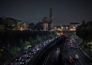 Фотографии Франция Дома Дороги Париж Ночные Города