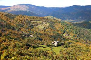Фото Франция Пейзаж Леса Осенние Холмы Saint Hilaire de Lavit