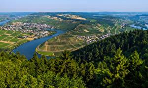 Фотографии Германия Речка Здания Лес Поля Холм Moselle Природа