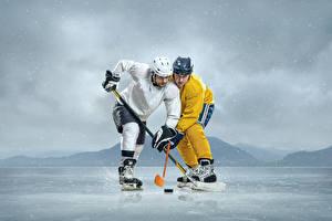 Фотографии Хоккей Мужчины 2 Униформа Шлем Лед Спорт