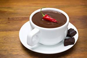 Картинки Какао напиток Шоколад Перец Чашка Блюдце Еда