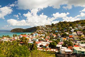 Картинка Дома Побережье Канары Облака Saint Lucia Города