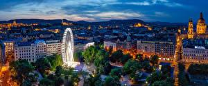 Картинка Венгрия Будапешт Здания Вечер HDR Колесо обозрения