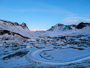 Картинки Исландия Зима Здания Снега Холм Myrdalshreppur Природа