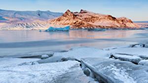 Фотография Исландия Зимние Реки Снег Лед Скала Природа