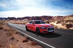 Картинки Инфинити Дороги Красный Едущий 2016 Q60 Автомобили