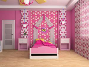 Картинка Интерьер Детская комната Дизайн Кровать