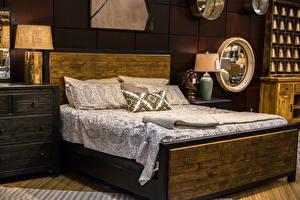 Картинка Интерьер Дизайн Спальня Кровать Подушки Лампа