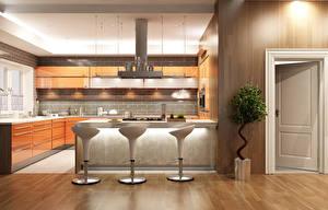 Фотографии Интерьер Дизайн Кухня Стулья 3D Графика