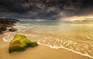 Картинка Италия Берег Рассветы и закаты Волны Камень Sardinia