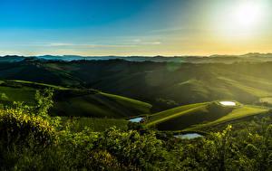 Фотография Италия Поля Луга Холмы Zattaglia Природа