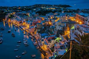 Фотография Италия Дома Вечер Берег Причалы Лодки Речные суда Procida Island Города
