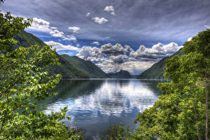 Фотографии Италия Озеро Пейзаж Горы Небо Облака Lake Lugano Природа