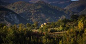 Фото Италия Горы Леса Вечер Альпы Деревья Penne Abruzzi Природа