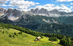 Картинки Италия Горы Леса Здания Луга Пейзаж Альпы Bressanone