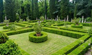 Обои Италия Тоскана Сады Скульптуры Дизайн Газон Кусты Деревья Villa Peyron Garden Природа