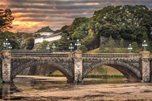 Обои Япония Токио Реки Мосты Уличные фонари Imperial Palace Bridge