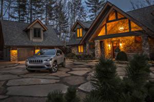 Обои Jeep Вечер Серый Особняк Дизайн Гараж 2019 Cherokee Limited Автомобили