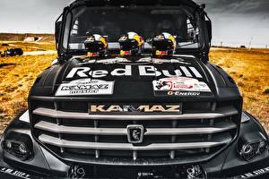 Картинка КАМАЗ Грузовики Черный Спереди Шлем Гонки 43509 Red Bull Авто