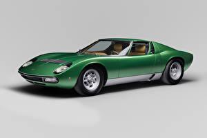 Фото Ламборгини Ретро Сером фоне Зеленые 1971-72 Miura P400 SV Worldwide Bertone авто