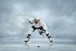 Картинка Мужчины Хоккей Униформа Шлем Лед Коньки Спорт