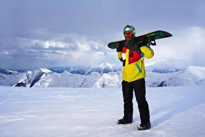 Фотография Мужчины Зима Сноуборд Снег Очки Спорт
