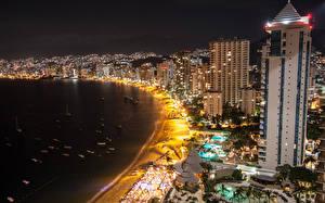 Фото Мексика Здания Берег Лодки Пляж Ночные Acapulco Города