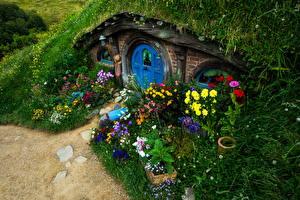 Фотографии Новая Зеландия Парки Дома Дизайн Трава Matamata Hobbiton Природа
