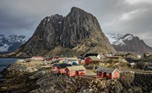 Фотографии Норвегия Лофотенские острова Здания Скала Города
