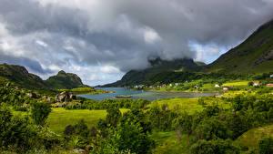 Фотографии Норвегия Лофотенские острова Горы Озеро