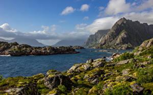 Фотографии Норвегия Лофотенские острова Горы Речка Камень Небо Мох Облака