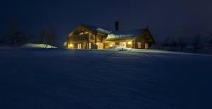 Обои Норвегия Зимние Здания Снег Ночные Myrane