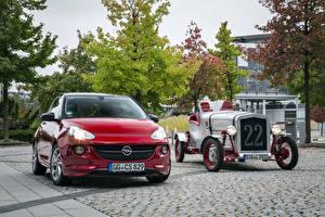 Картинка Opel Винтаж Двое Красный Металлик Opel Adam, Loryc Electric Speedster автомобиль
