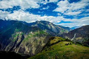 Фото Перу Небо Горы Луга Корова Облака Apurimac Valley Природа