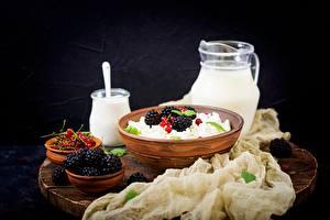 Картинка Творог Ежевика Завтрак Продукты питания