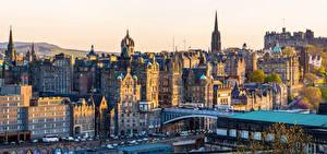 Фотографии Шотландия Эдинбург Дома Мосты Улица