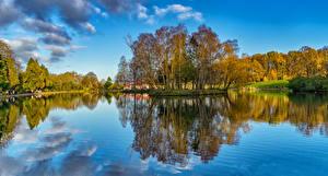 Фото Шотландия Озеро Осенние Деревья Отражение Природа