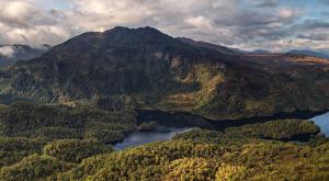 Обои Шотландия Гора Лес Река Природа
