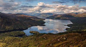 Фото Шотландия Пейзаж Речка Небо Холмы Облачно Природа